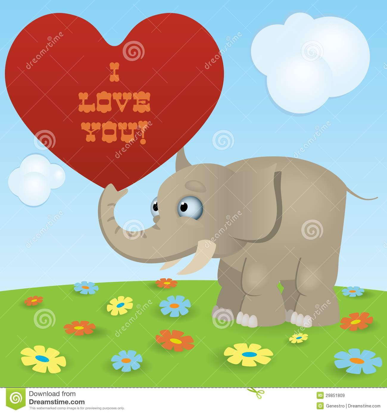 Cute cartoon elephant with a red paper heart and sign -I Love You.
