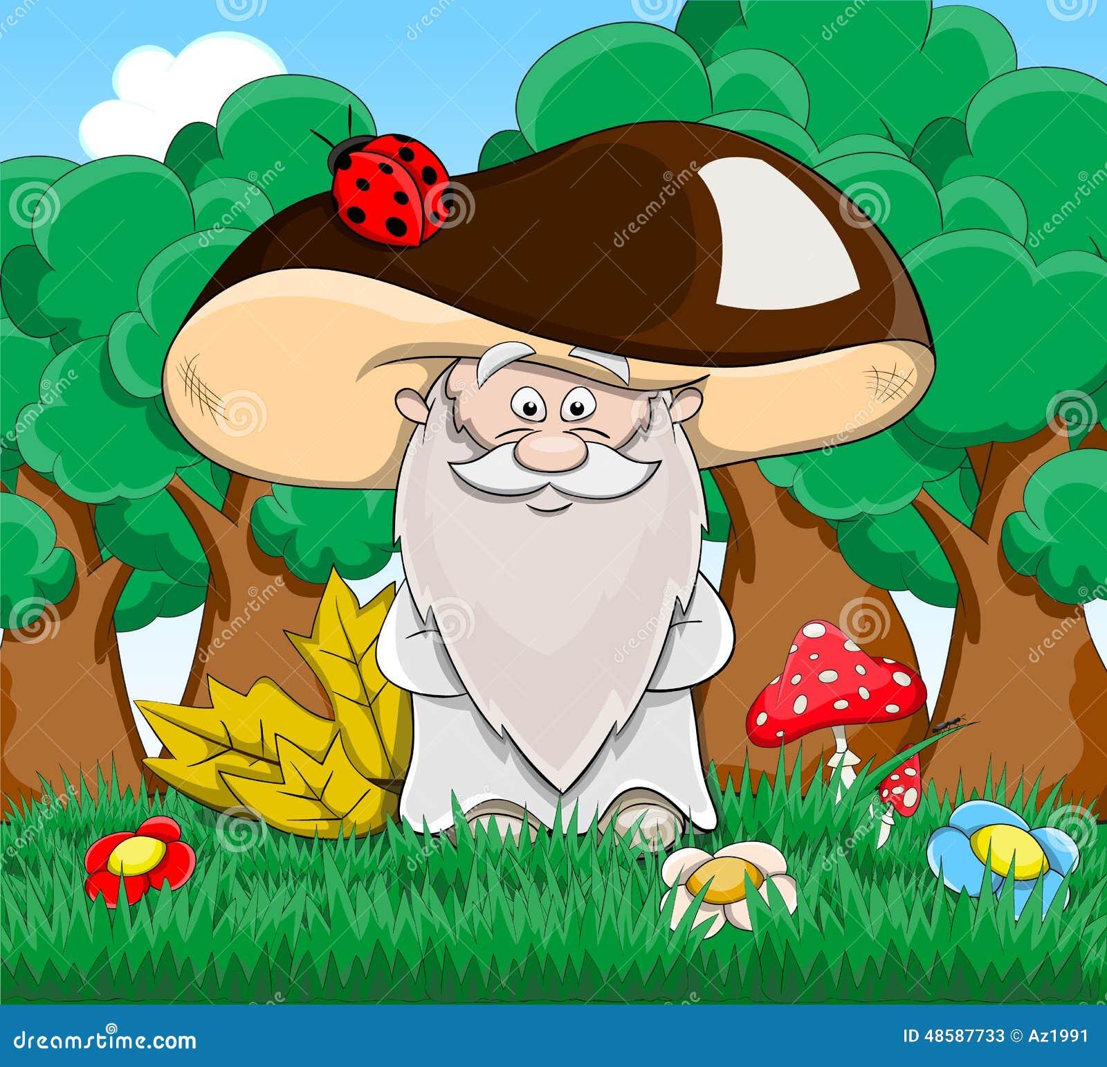 cute cartoon fabulous old man mushroom stock vector