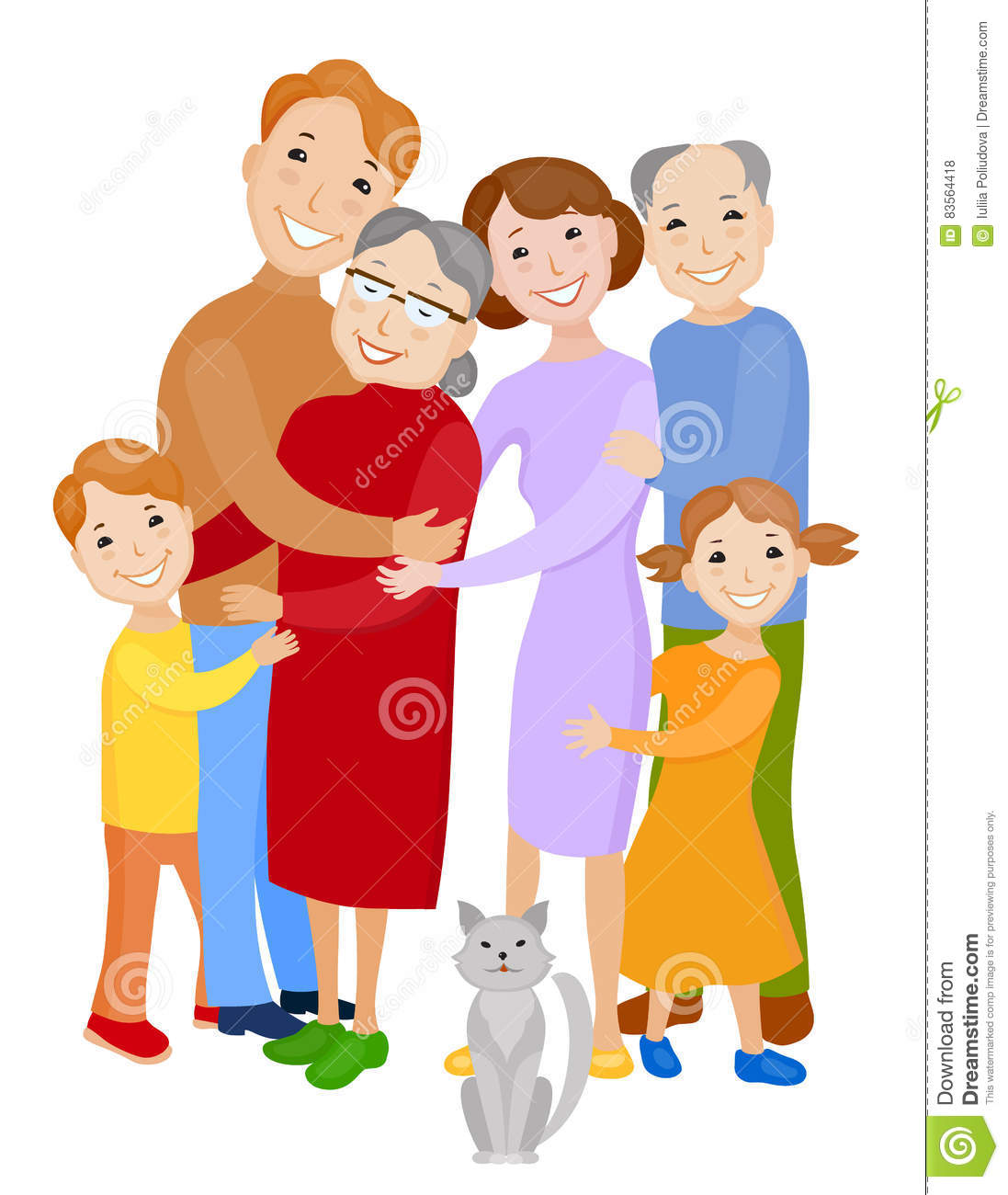 Cute Cartoon Family In Colorful Stylish Clothes Stock Illustration ...