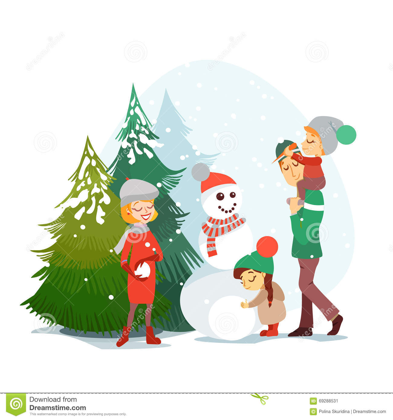 Cute Cartoon Family Enjoying Winter Vacation In Winter