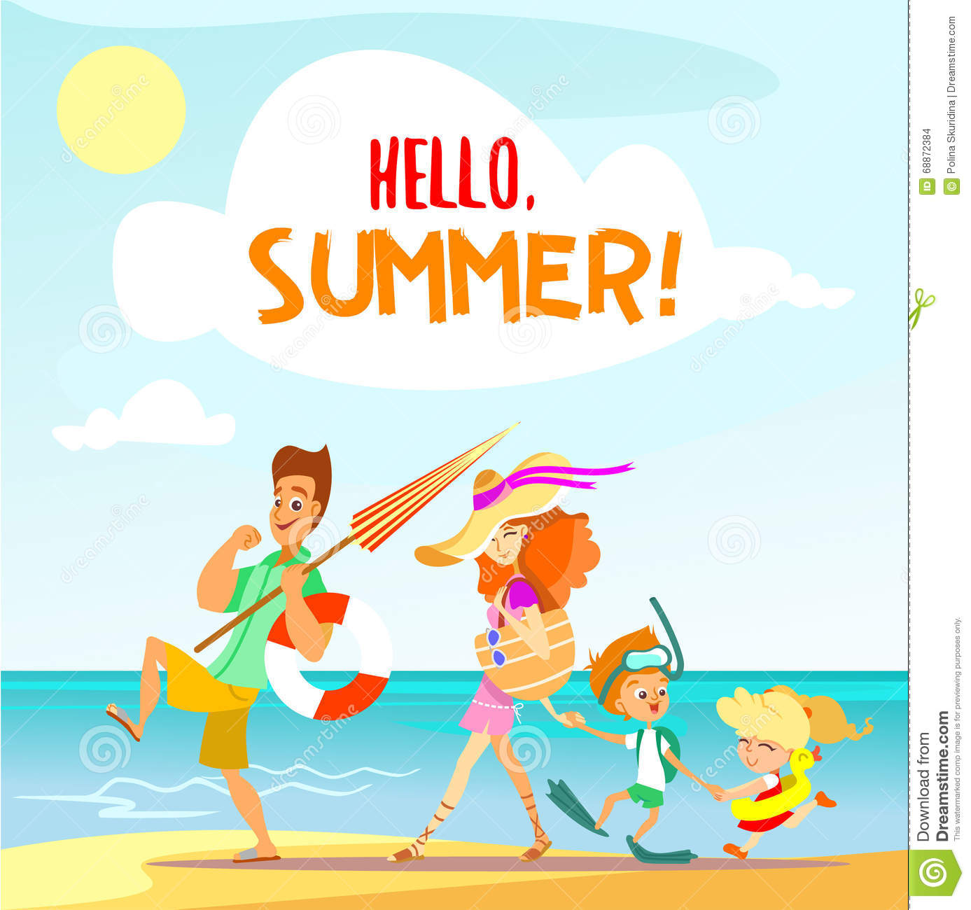 Cute Cartoon Family Walking On Beach In Summer Vacation