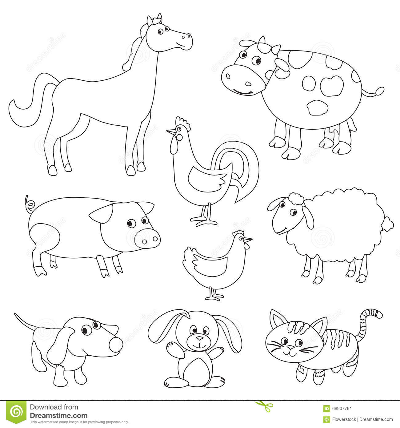 Cute Cartoon Farm Animals And Birds For Coloring Book Illustration ...
