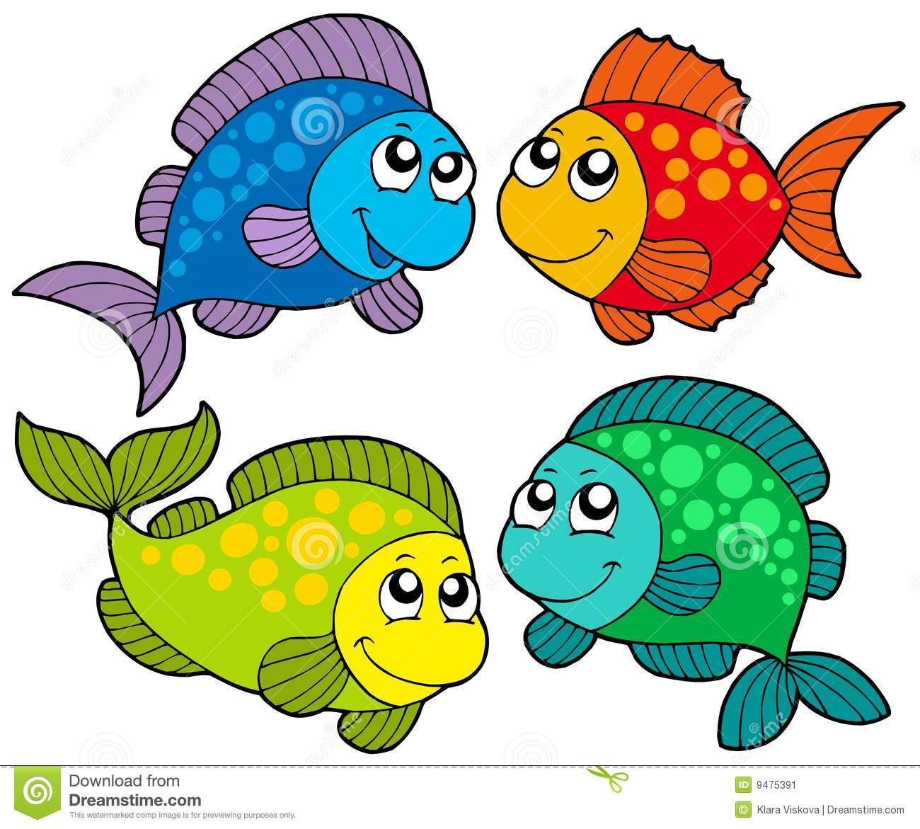 Cute Cartoon Fishes Collection Stock Vector - Illustration ...