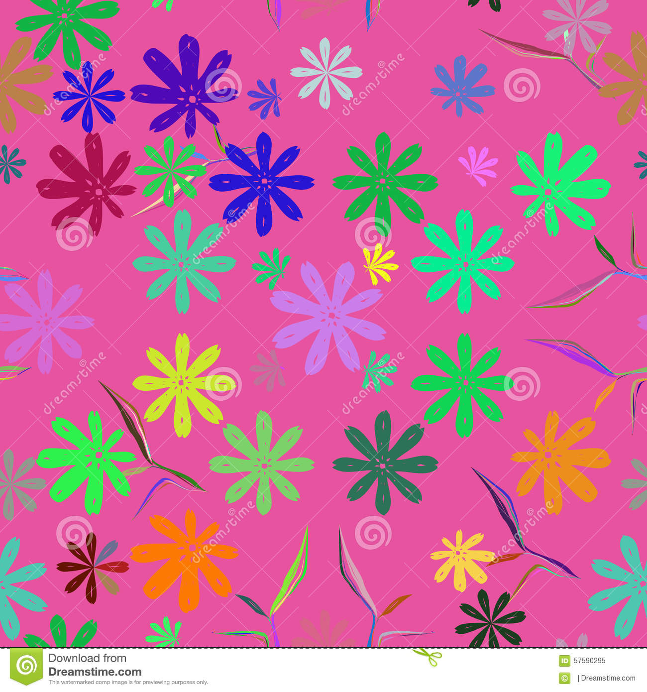 Cute Cartoon With Flowers Nature Seamless Pattern. Stock Vector ...