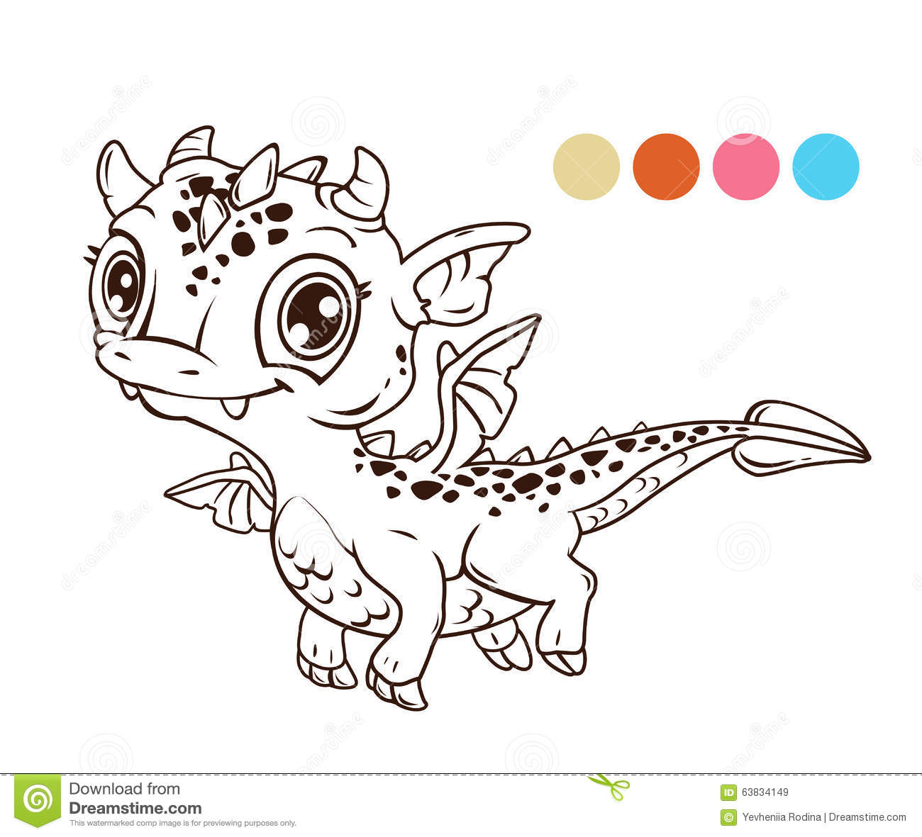 Cute cartoon flying baby dragon stock illustration for Cute baby dragon coloring pages