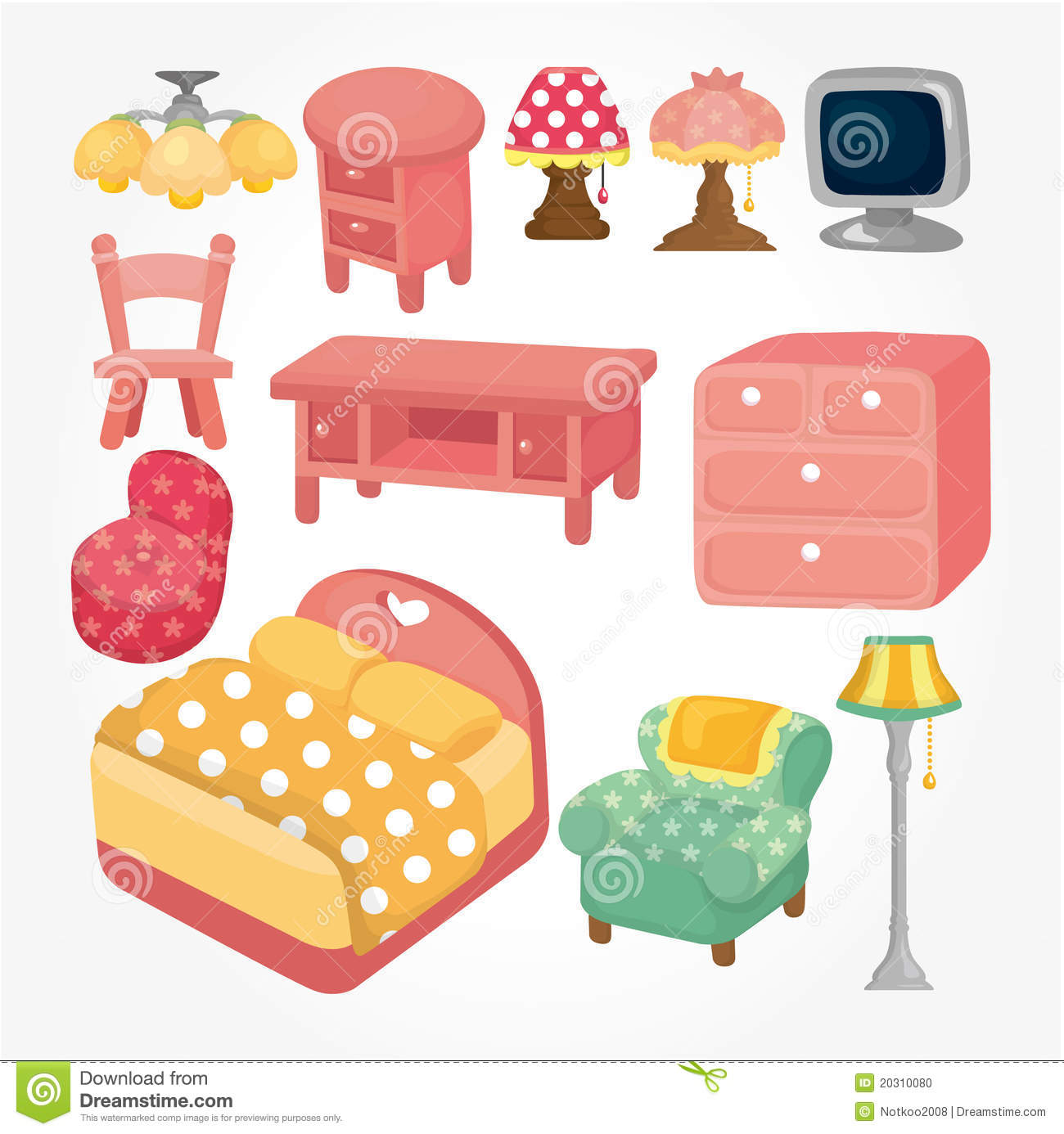 Cute Cartoon Furniture Icon Set Stock Vector
