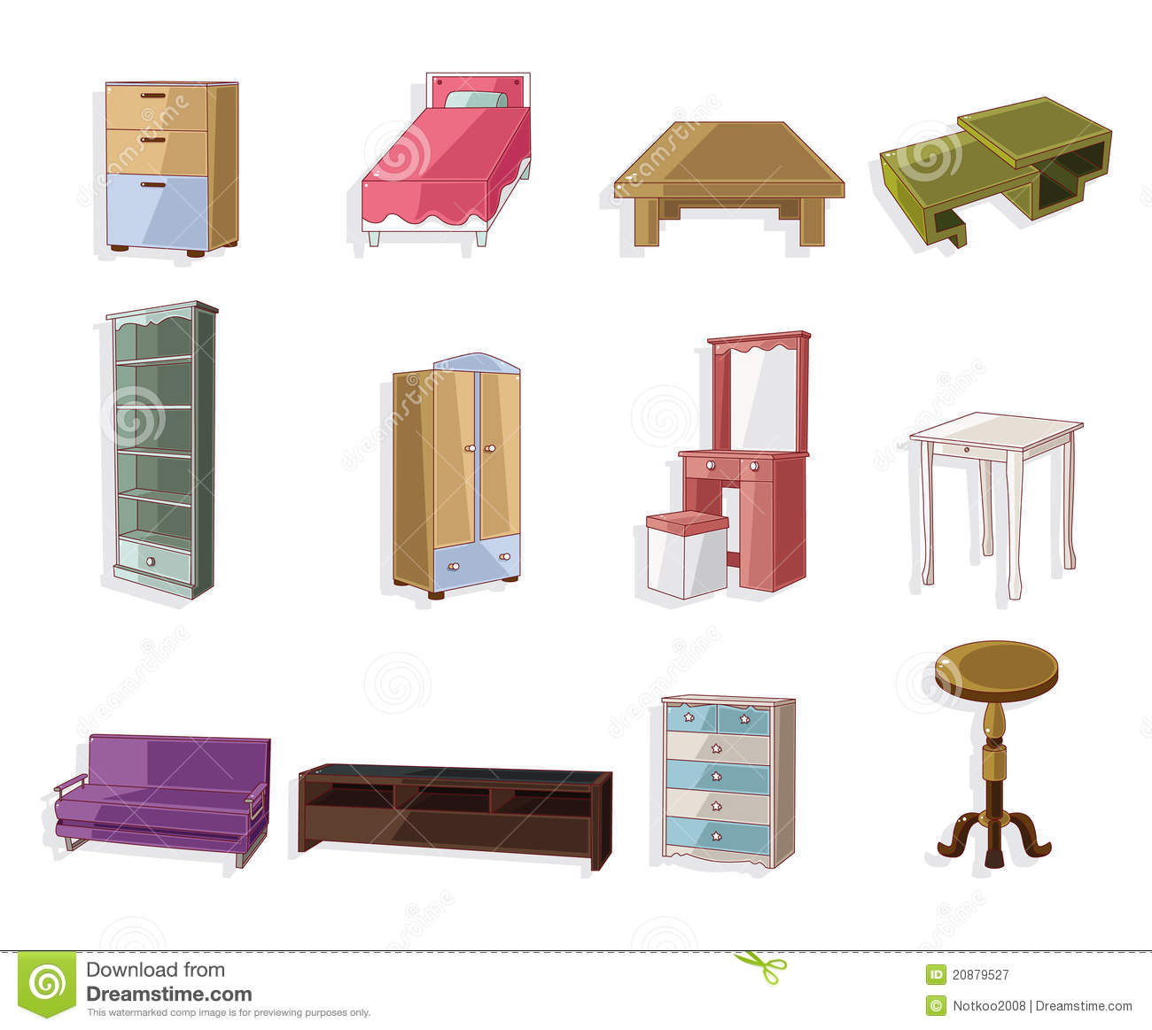 Cute Cartoon Furniture Icon Set Royalty Free Stock