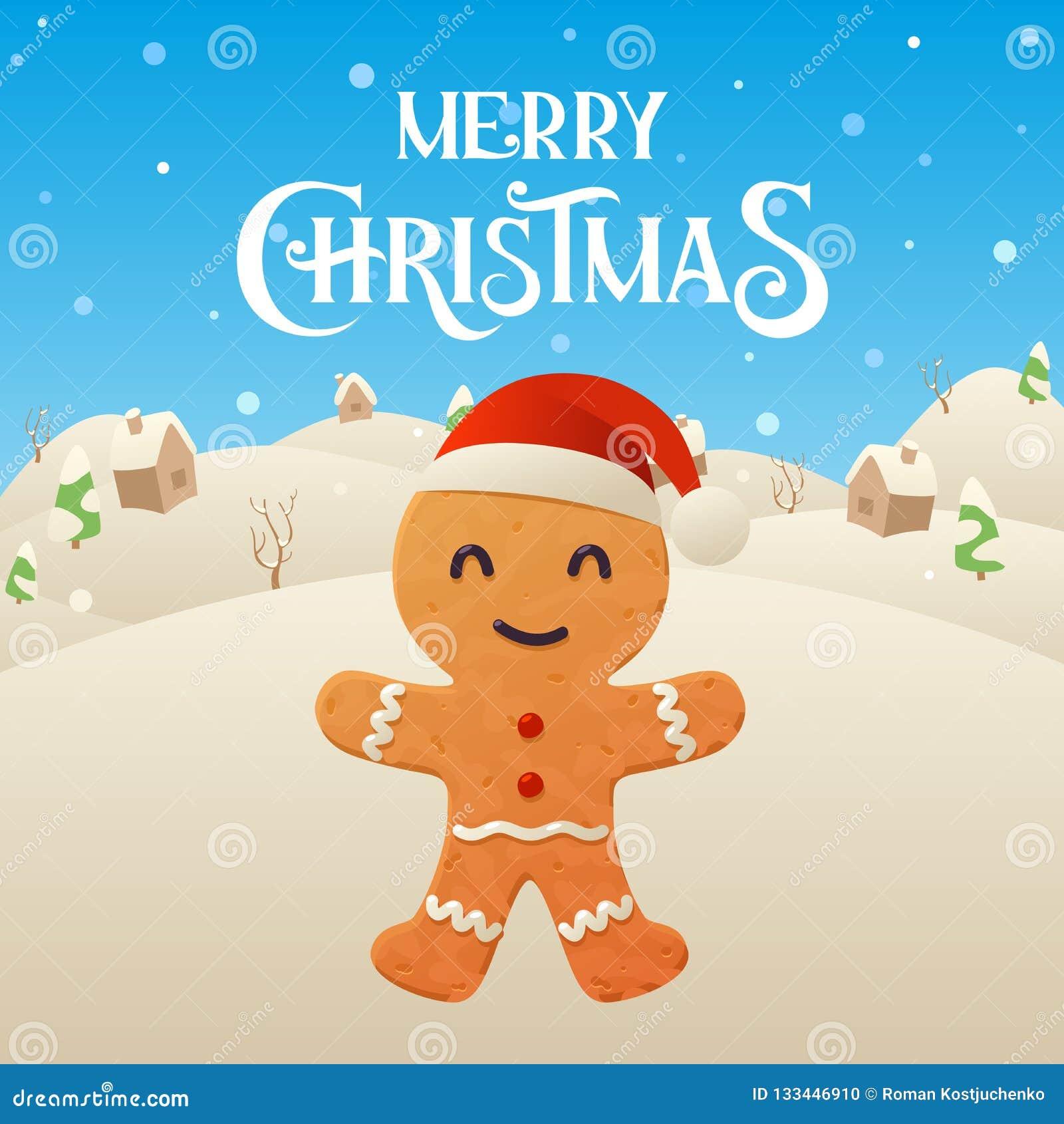 Cute Cartoon Gingerbread Character Merry Christmas