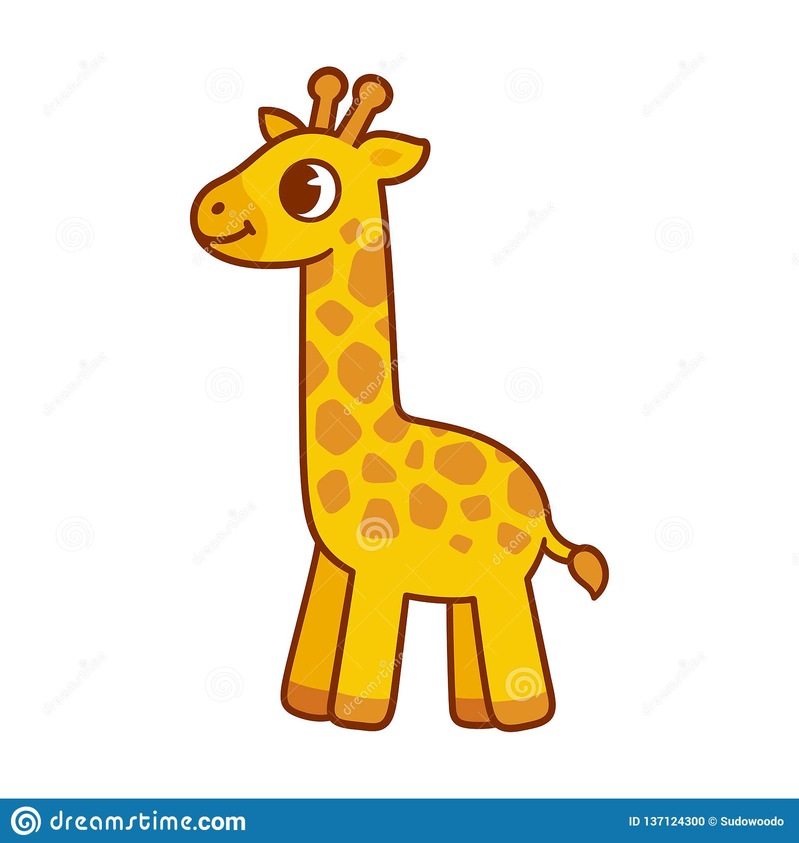 Cute cartoon giraffe stock vector. Illustration of tall ...