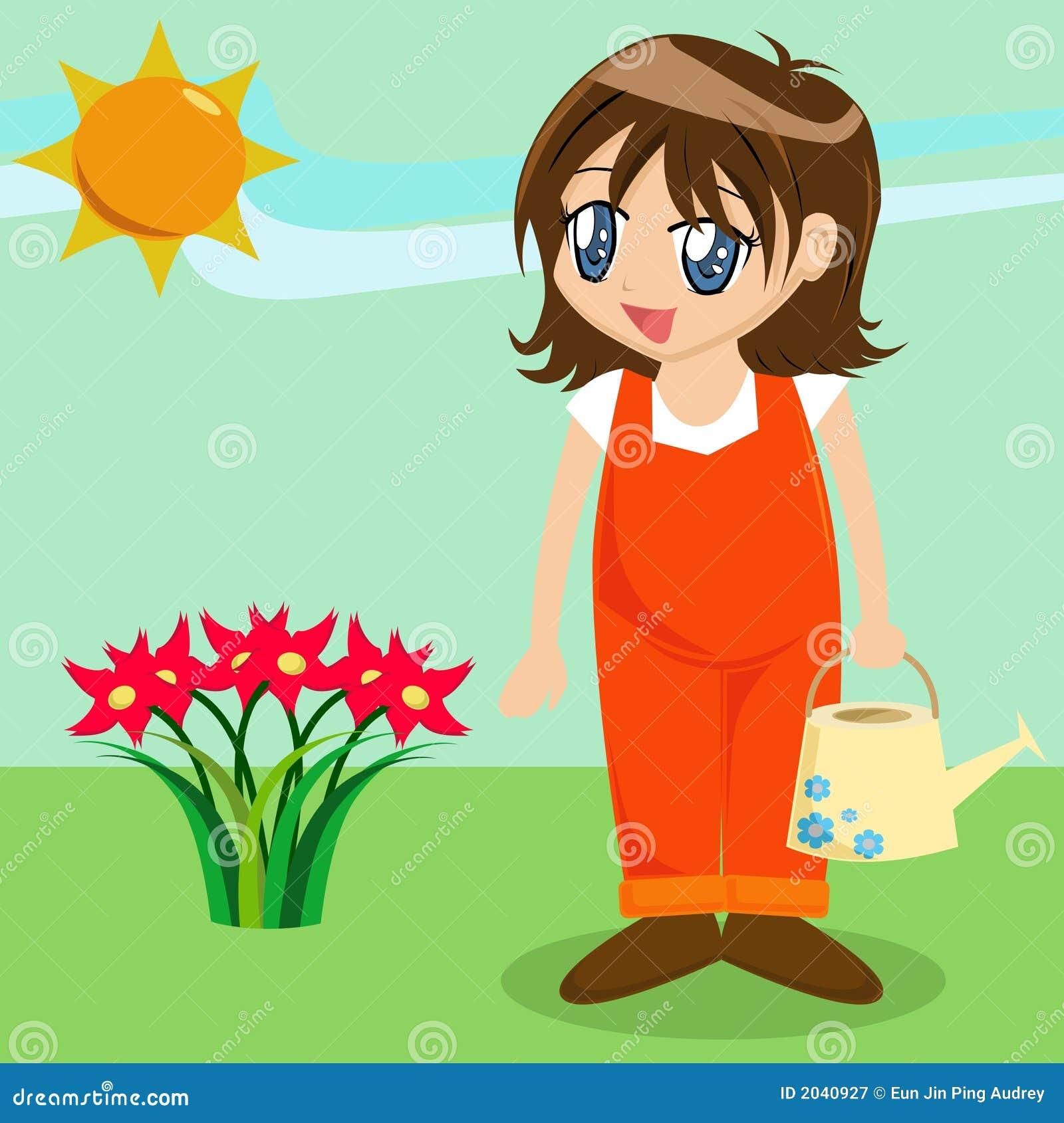 Garden Cute Cartoon: Cute Cartoon Girl In Garden Royalty Free Stock Photography