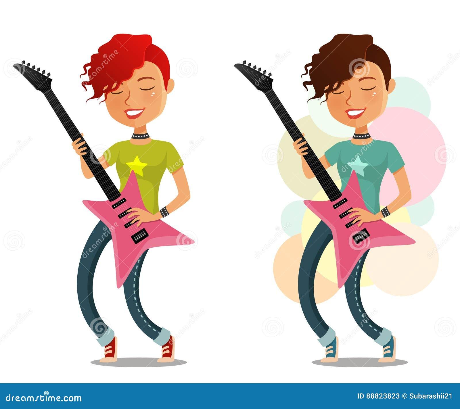 Funny Cartoon Girl Playing Guitar Stock Vector Art & More ...  Cartoon Girl Guitarist