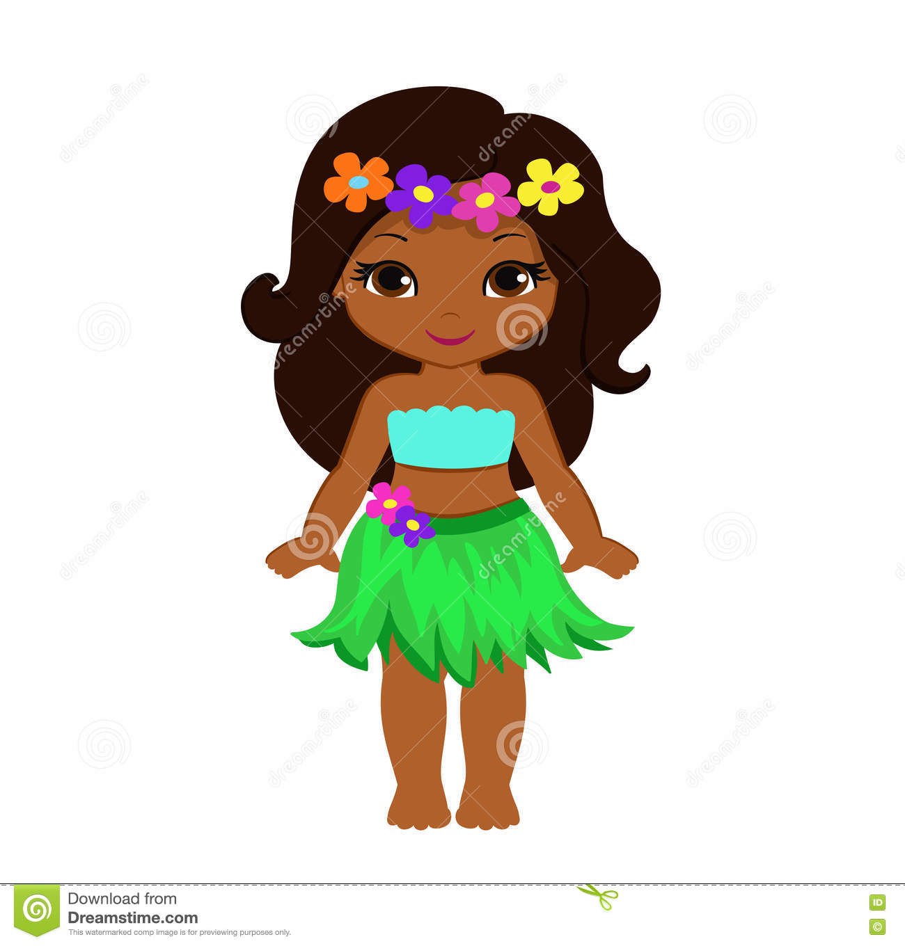 Hawaiian Hula Clipart Lovely cartoon hawaii hula girl stock ...