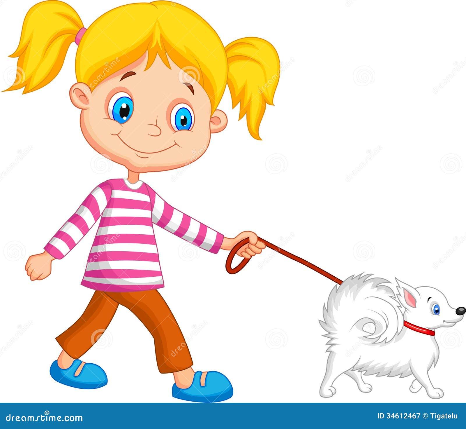cute cartoon girl walking with dog stock vector illustration of
