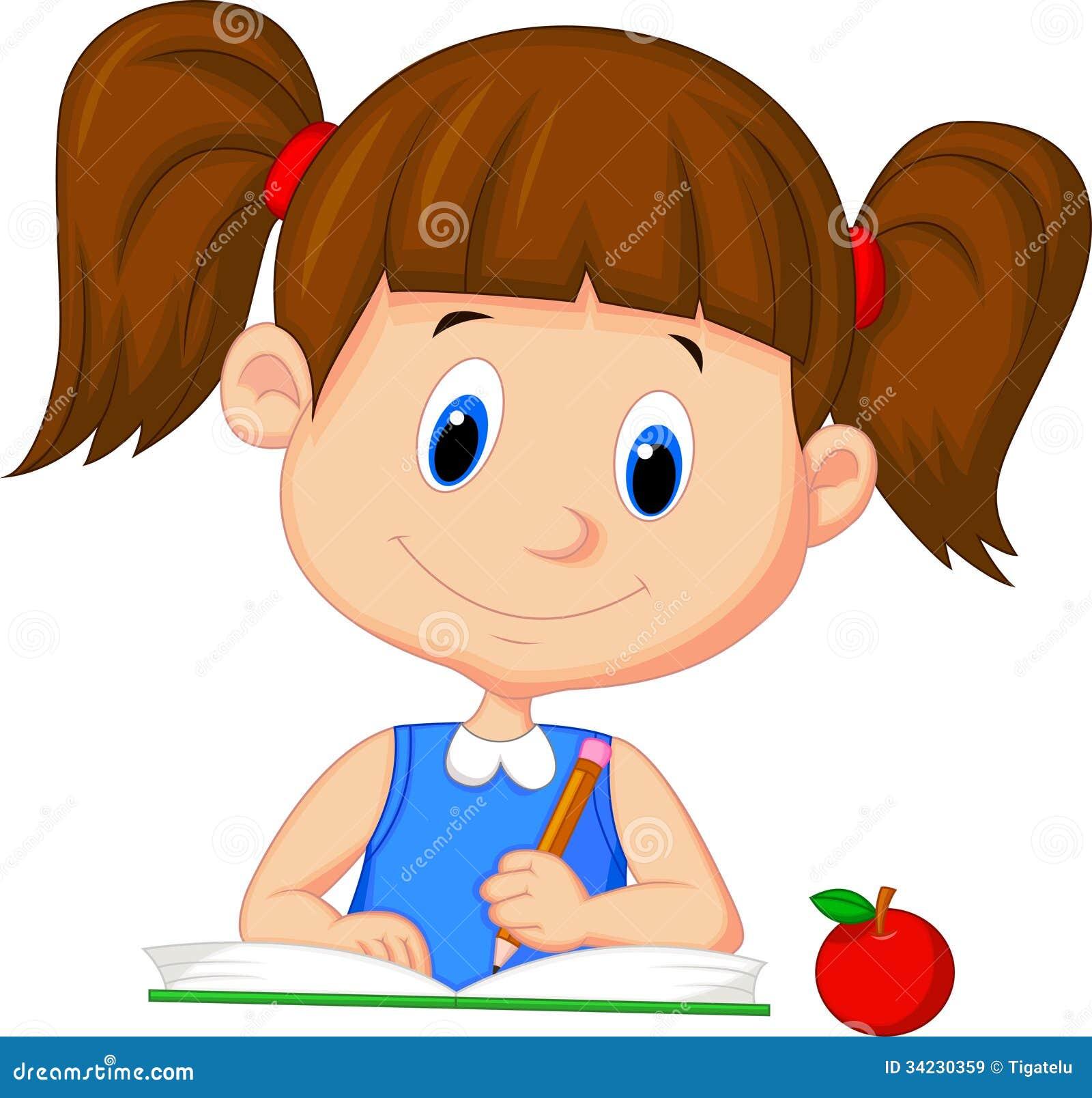 Cute Cartoon Girl Writing On A Book Stock Vector Illustration Of