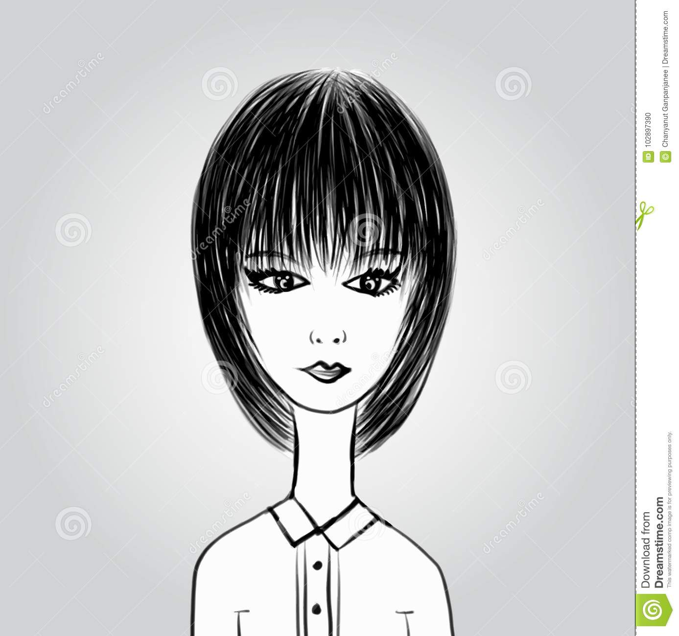 Cute Cartoon Girl Young Lady In Black And White Office Clothes