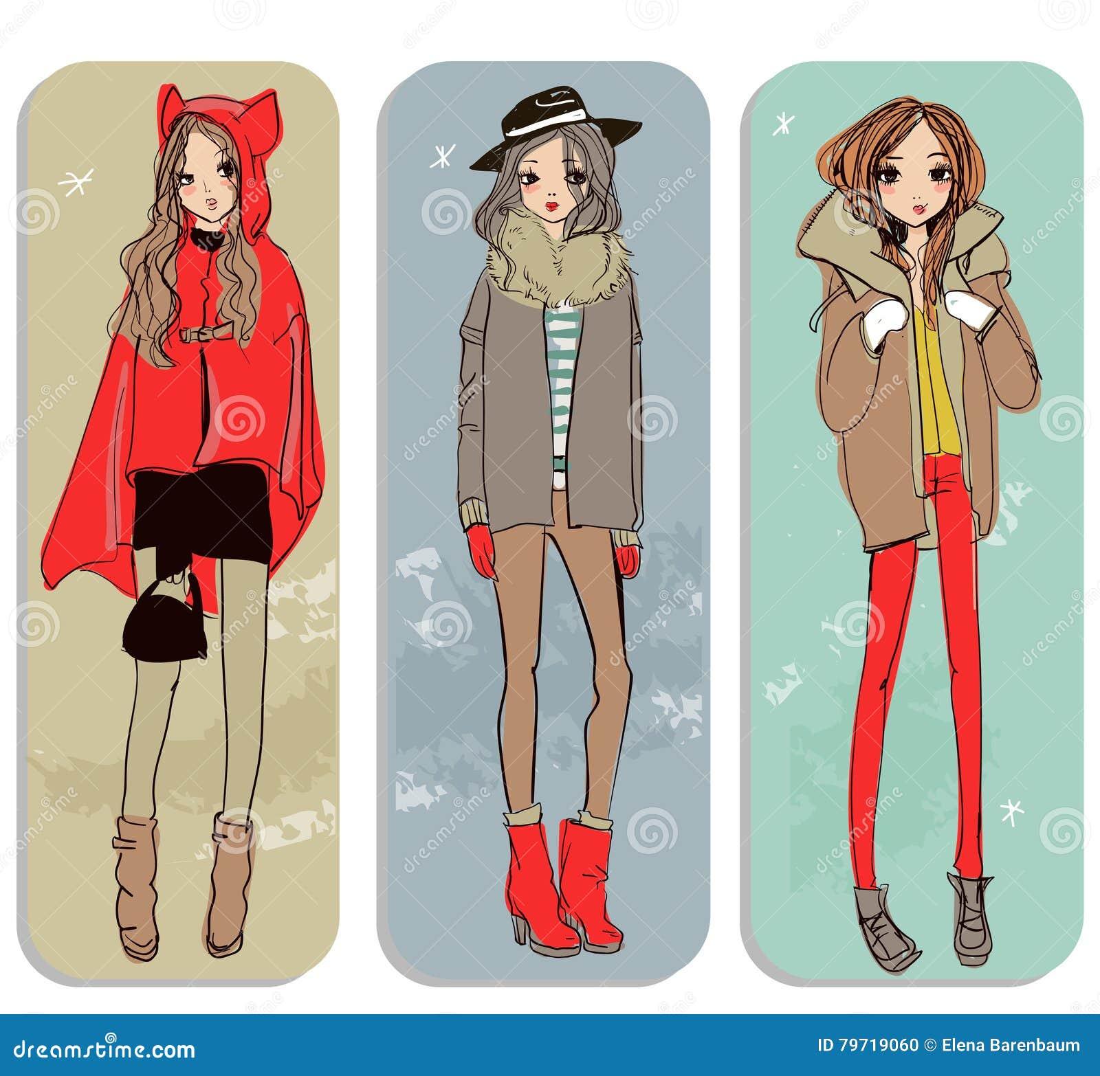 Cute Cartoon Hipster Girls Cartoon Vector 70060345