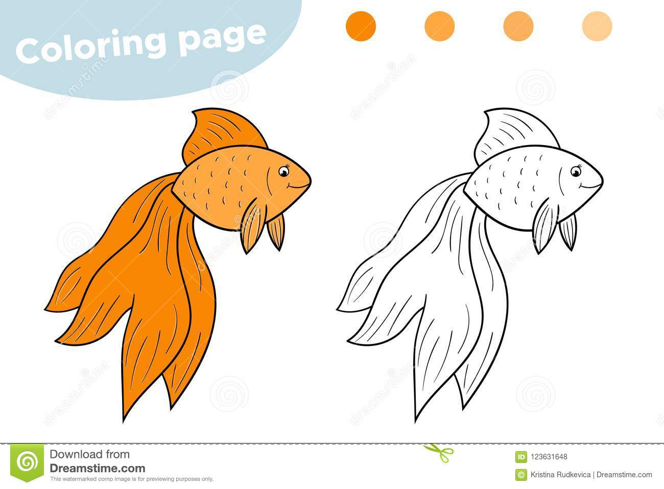 Coloring Page For Kids. Cartoon Goldfish. Hand Drawn. Vector ...