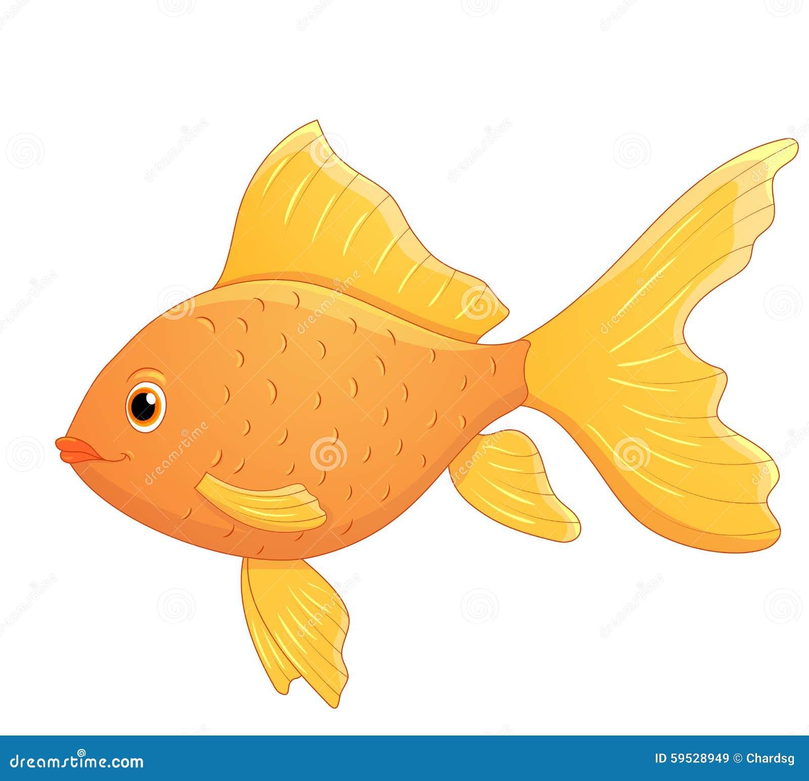 Cute Cartoon Goldfish Stock Vector. Illustration Of