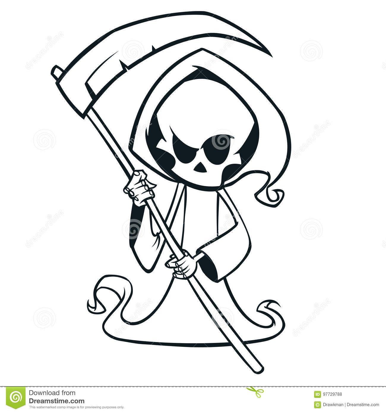 Cute cartoon grim reaper with scythe isolated on white. Cute Halloween skeleton death character outlines