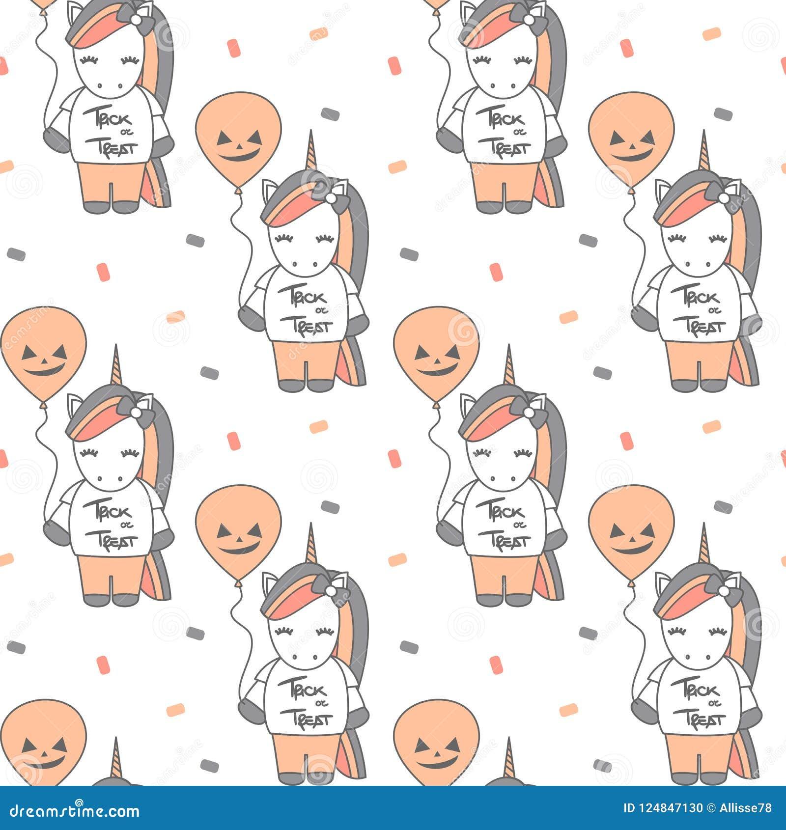 Cute Cartoon Halloween Seamless Vector Pattern Background ...