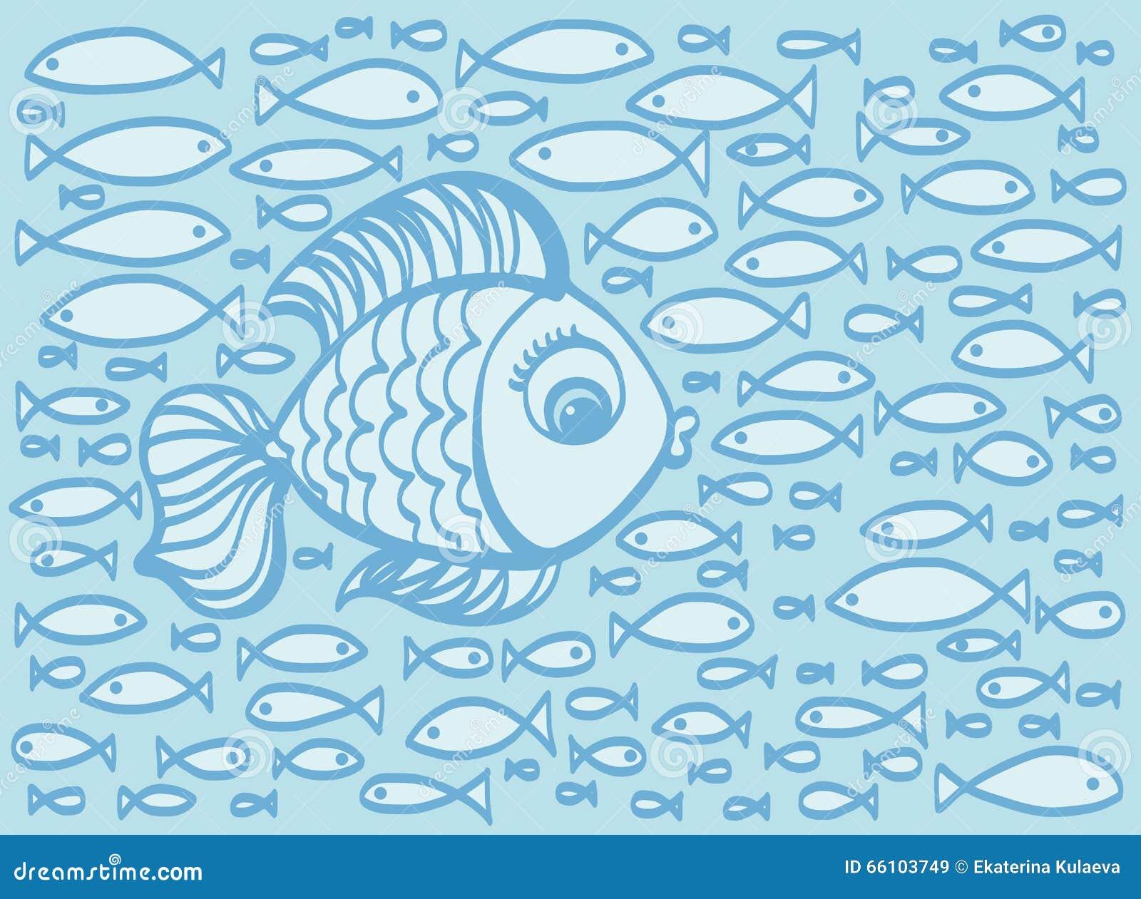 Cute Cartoon Hand Drawn Fish Illustration Stock Vector