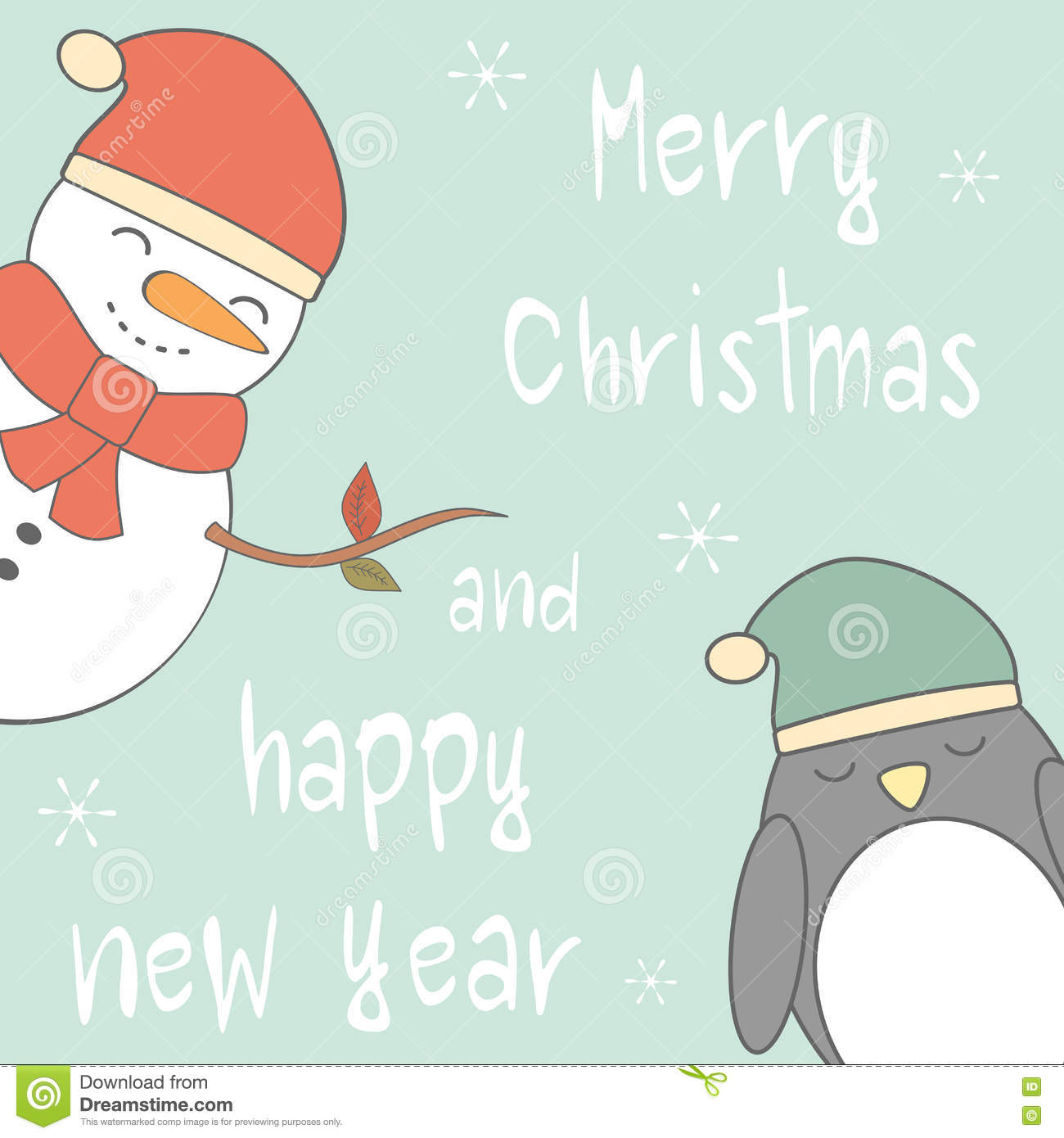 cute cartoon hand drawn merry christmas and happy new year card with snowman and penguin