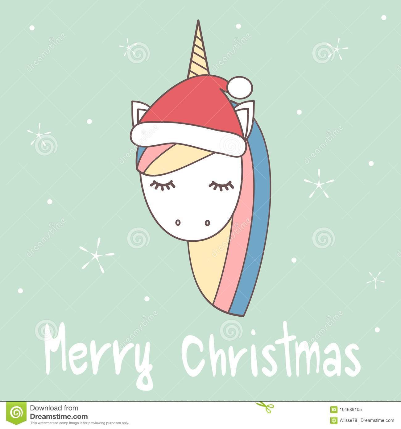 0d73f90758cf7 Cute cartoon hand drawn merry christmas greeting card with unicorn with  santa`s hat