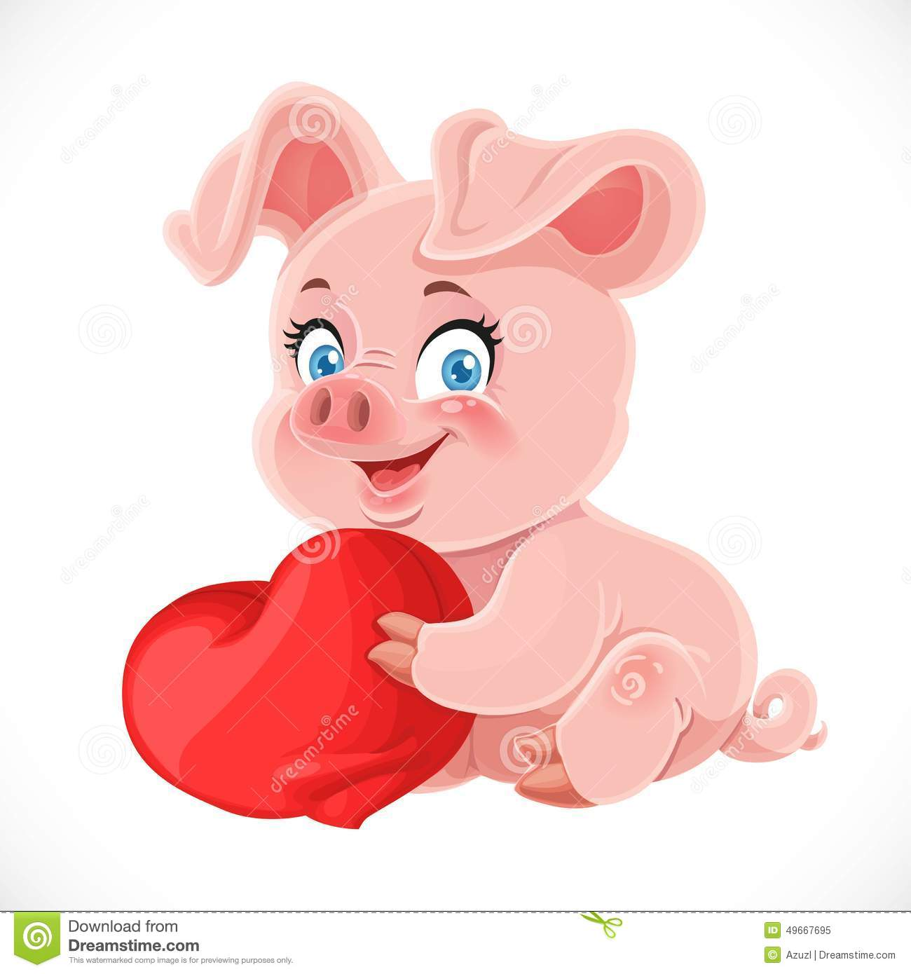 Cute Cartoon Happy Baby Pig Hugging A Soft Red Pillow