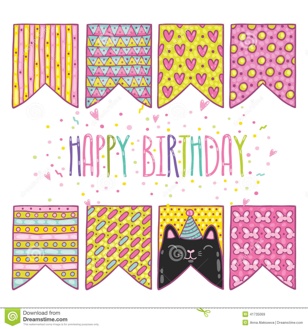Cute Cartoon Happy Birthday Holiday Flags With Cat Stock