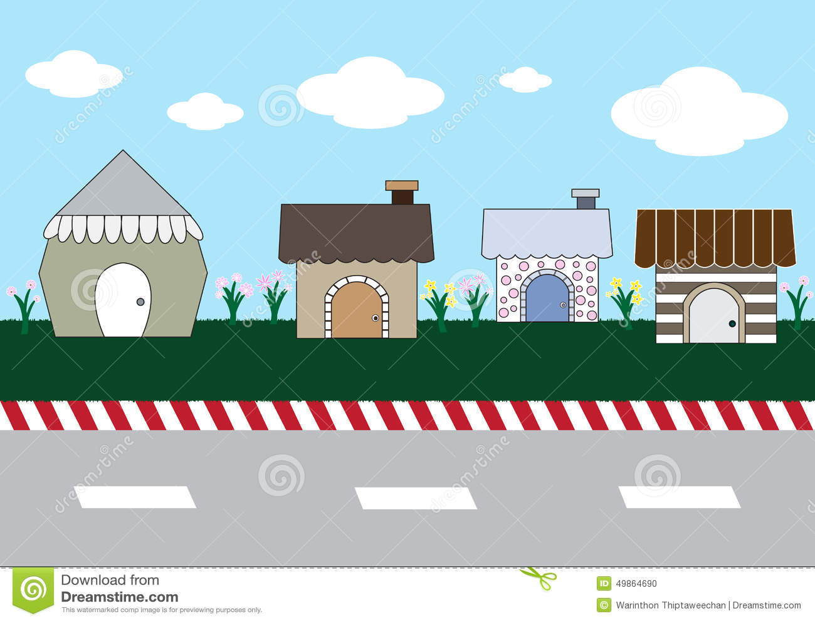Cute Cartoon Homes On Street Stock Vector - Image: 49864690