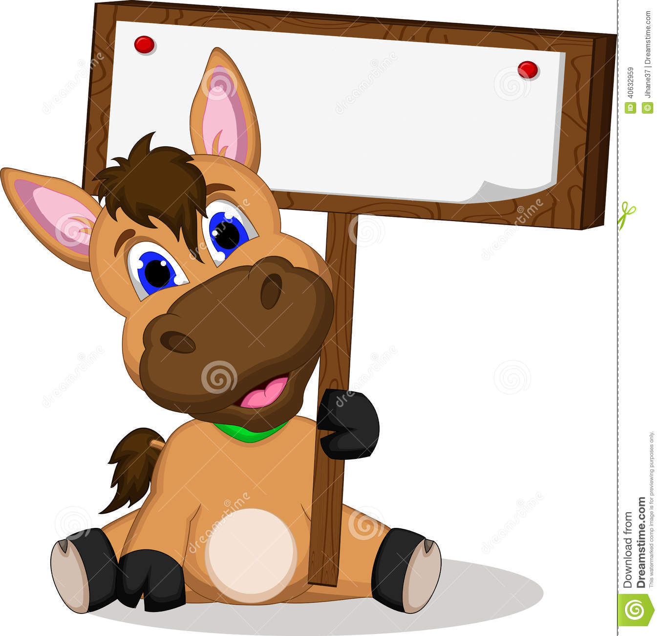 Cute Cartoon Horse With Blank Sign Stock Illustration ...
