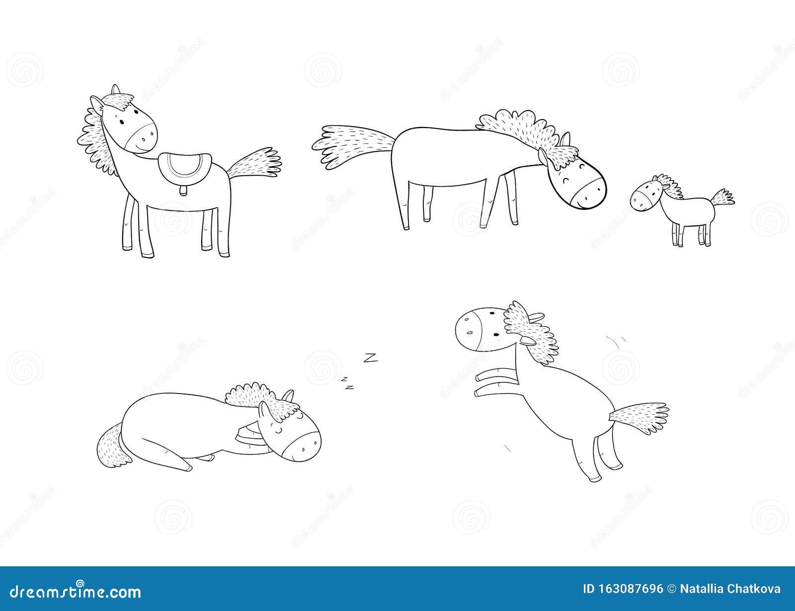 Cute Cartoon Horse. Farm Animals. Funny Pony Stock Vector ...