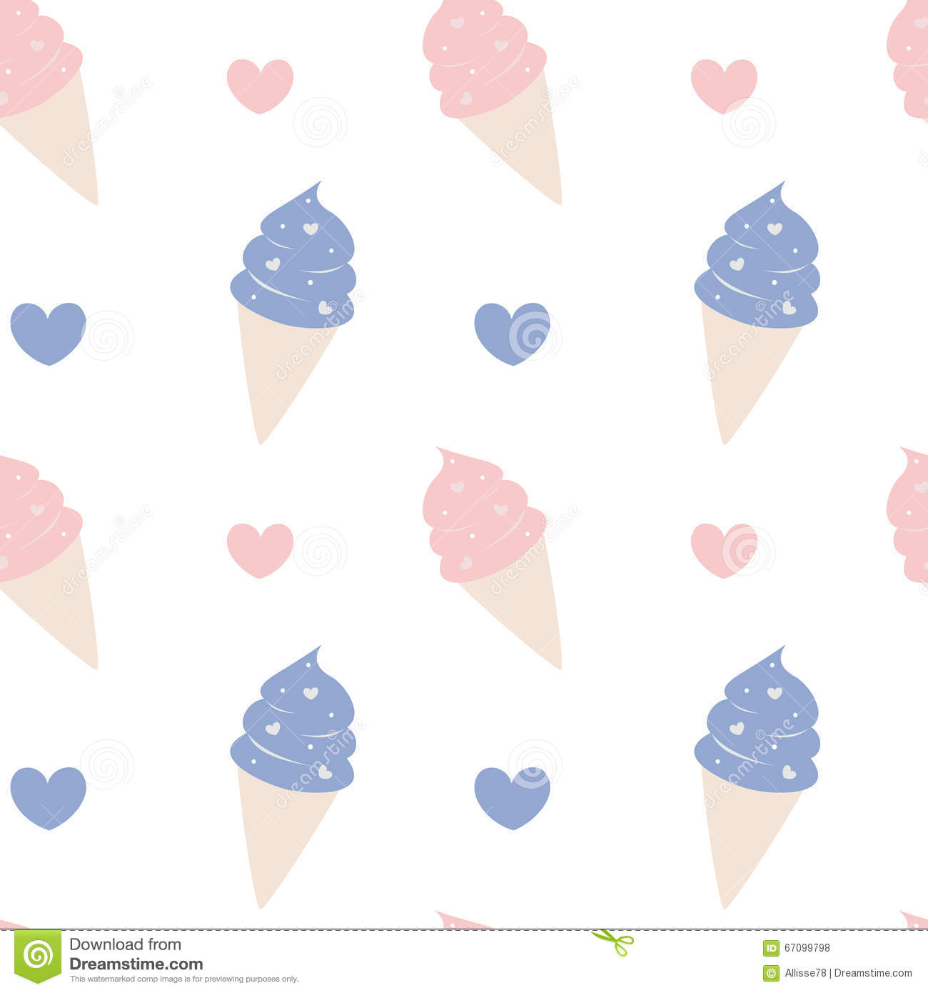 Cute Ice Cream Background: Cute Cartoon Ice Cream Pink And Blue Lovely Seamless
