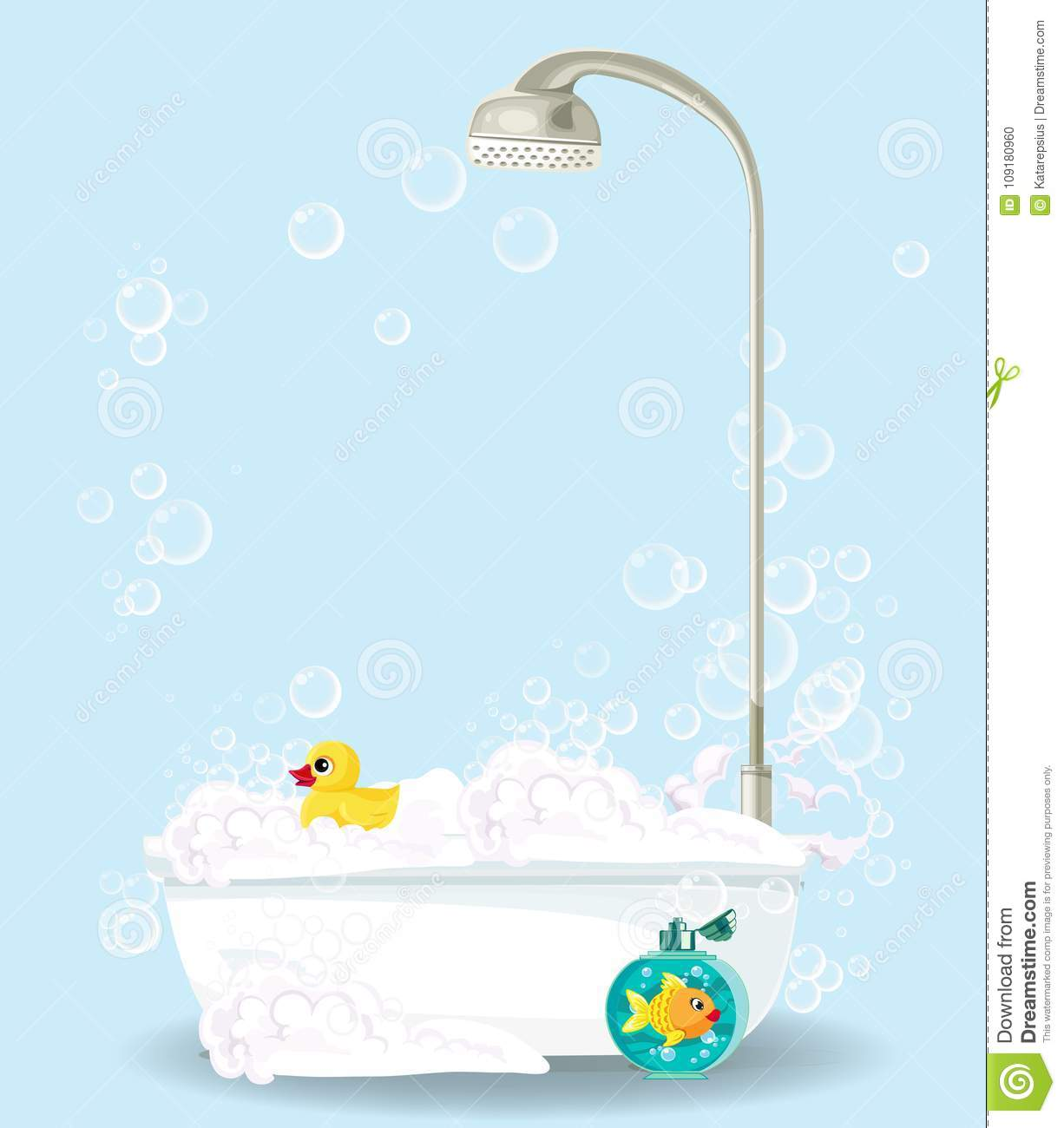 Cute Cartoon Illustration Of Bathtub On Blue Stock Vector ...
