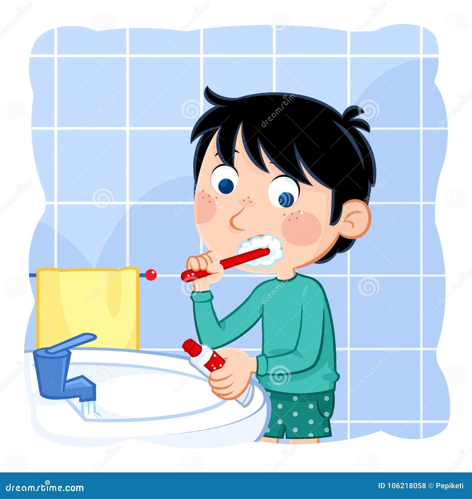 Hygiene Cute Kid Brushing His Teeth In The Bathroom Stock Illustration Illustration Of Cute Happy 106218058