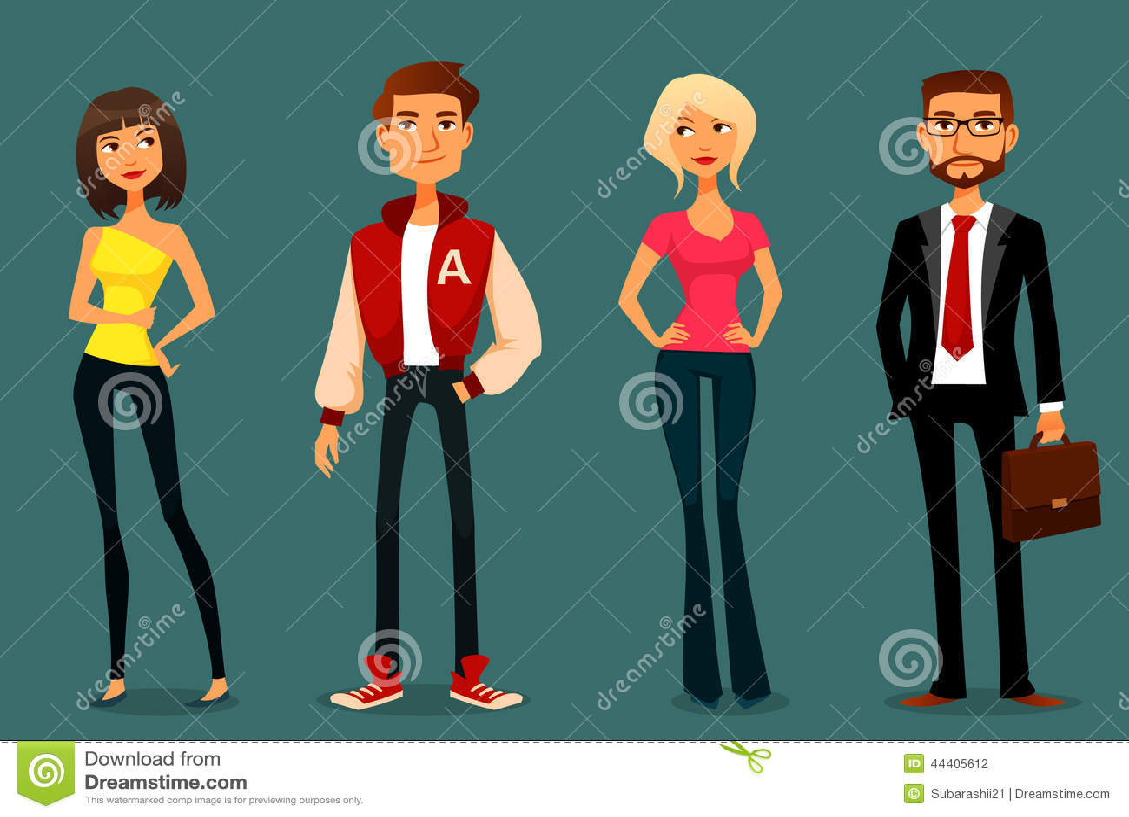 cute cartoon illustration of people stock vector image