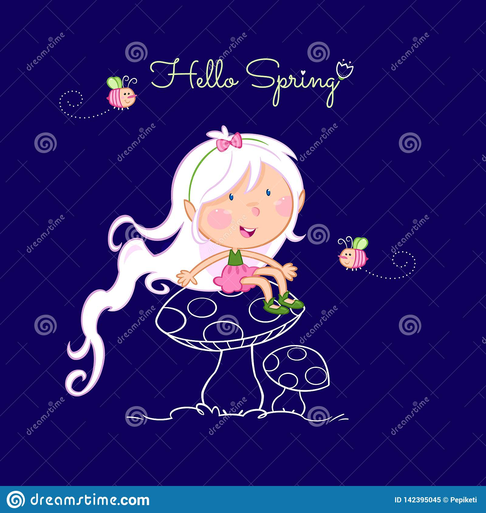 Hello spring - cute little fairy and the bee