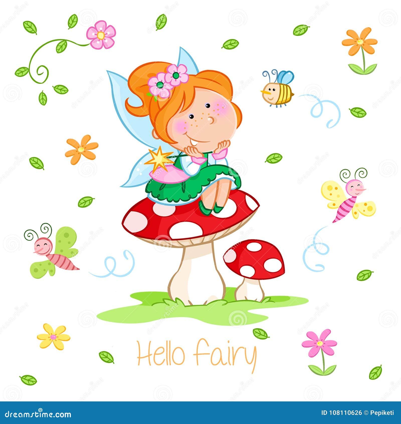 Hello Spring - Adorable little fairy and spring garden