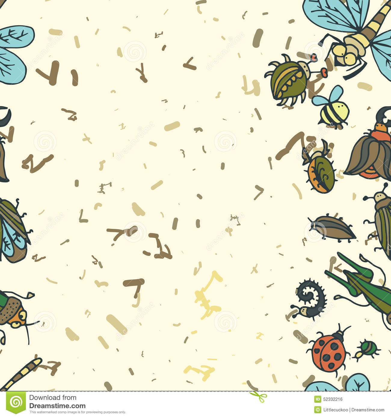 Cute Cartoon Insect Border Pattern Summer Concept