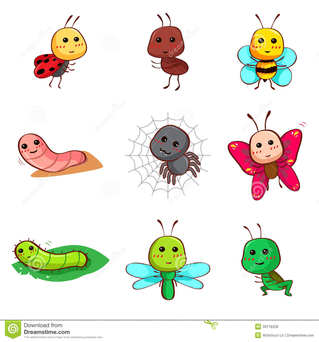 Cute Cartoon Insects And Bugs Stock Vector Image 39776258