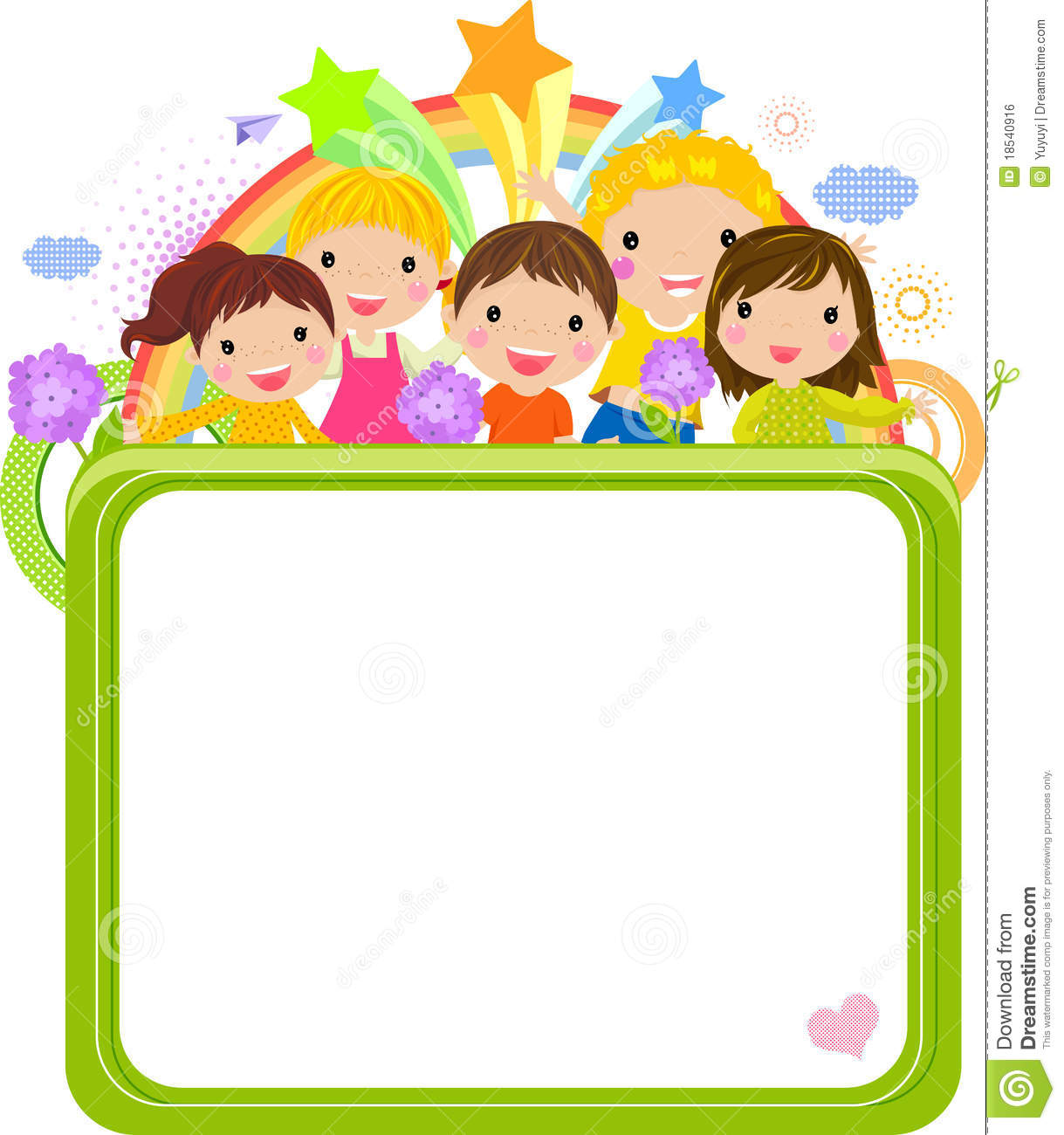 Cute Cartoon Kids Frame Royalty Free Stock Image