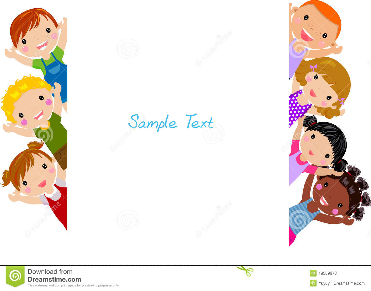 cute cartoon kids frame stock photo - Cartoon Pictures For Kids