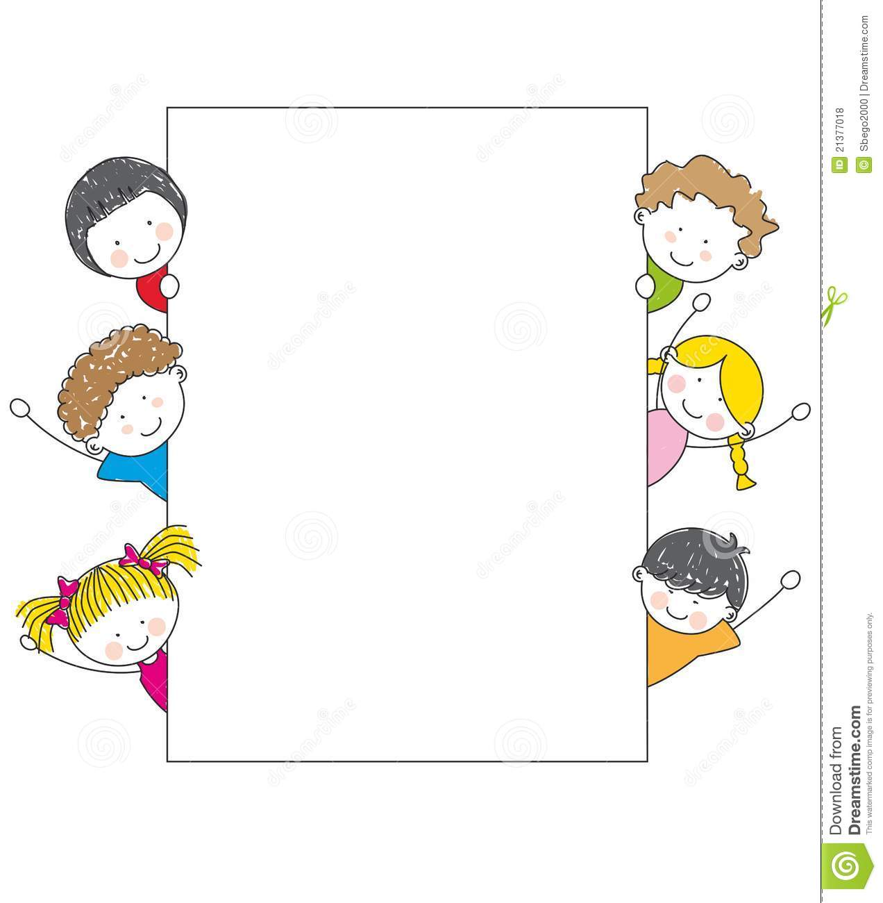 Cute cartoon kids frame stock vector. Illustration of face - 21377018