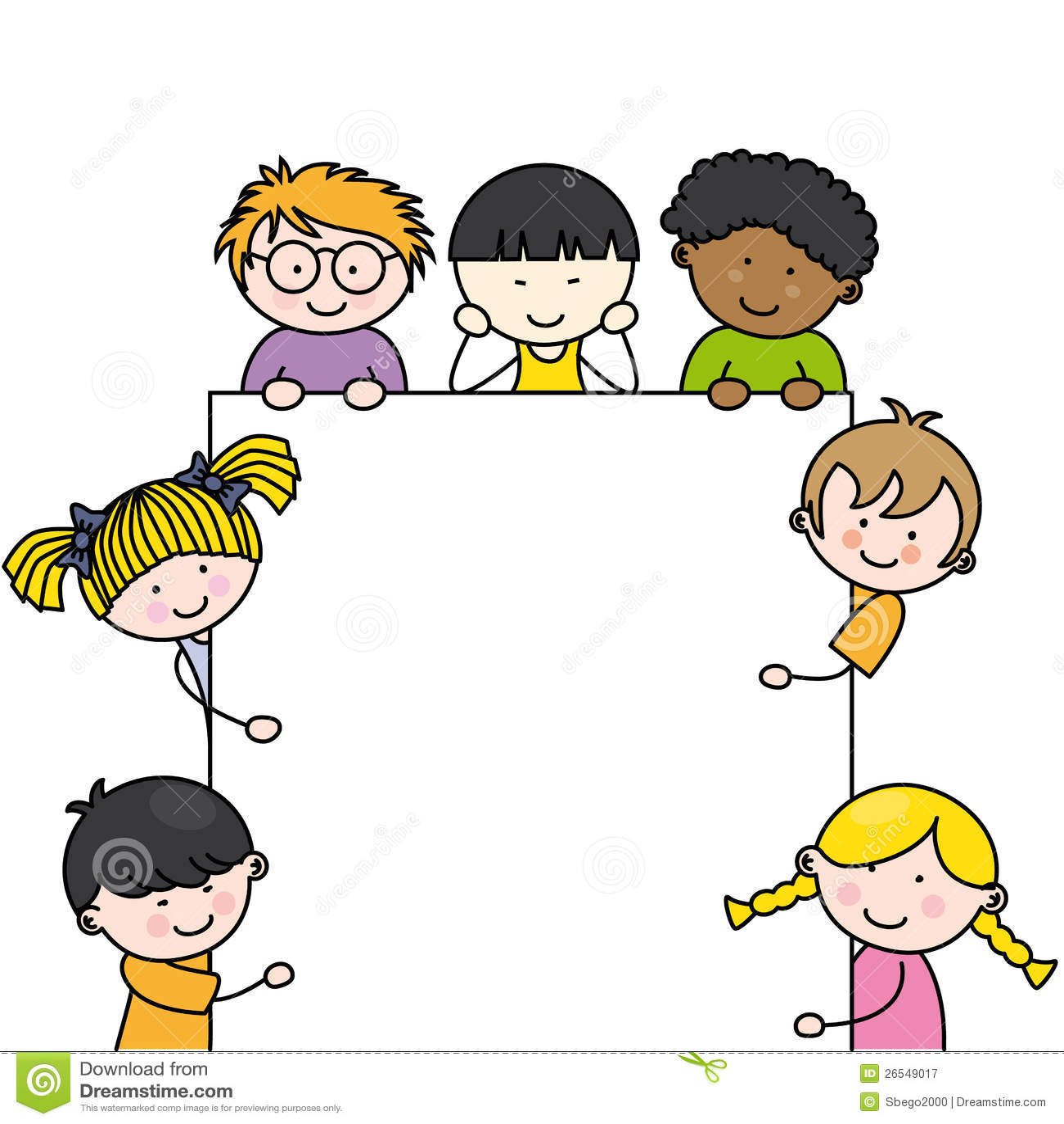 Cute cartoon kids frame stock vector. Illustration of ...