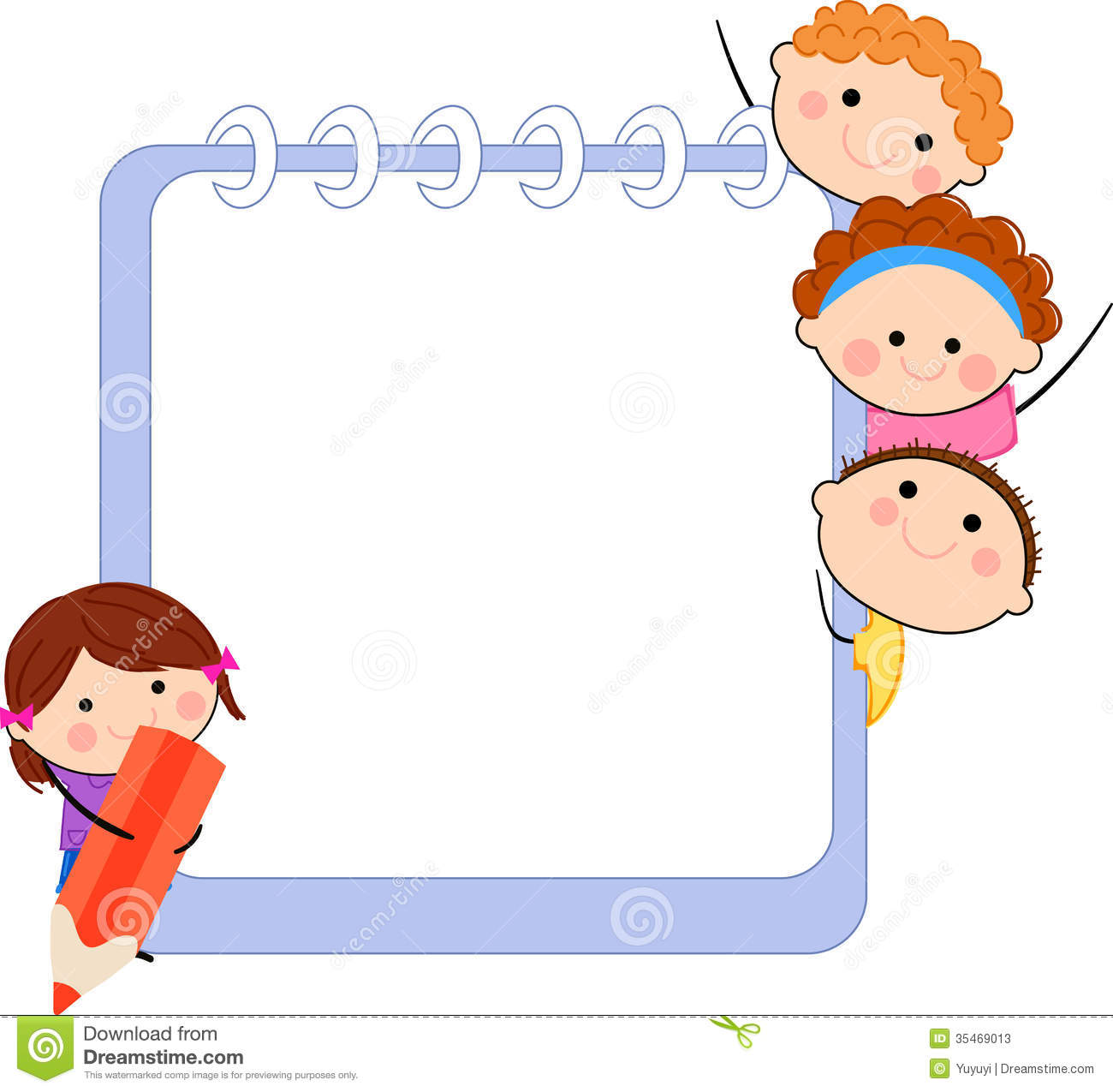 Cute cartoon kids frame stock vector. Illustration of group - 35469013