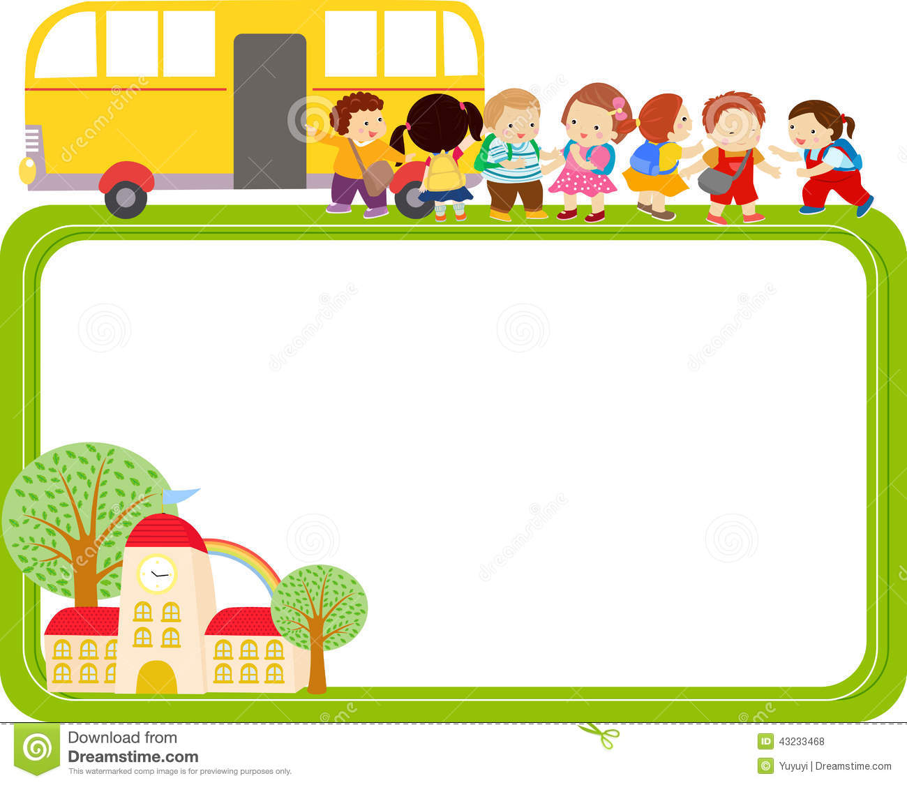cute cartoon kids and school bus frame stock vector - illustration