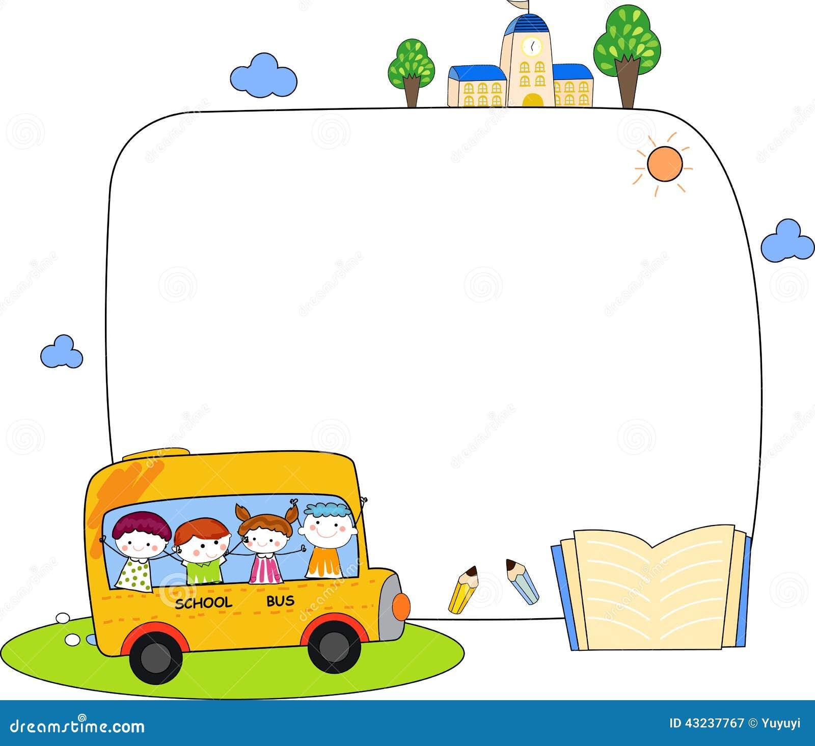 Cute Cartoon Kids And School Bus Frame Stock Vector Illustration