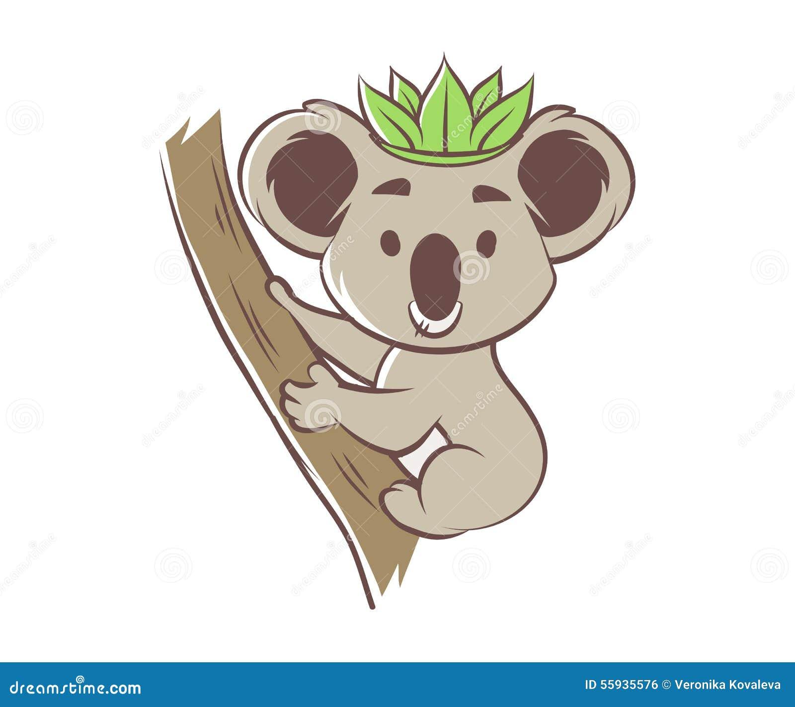 Stock Illustration Cute Cartoon Koala Bear Tree Vector Illustration Im...