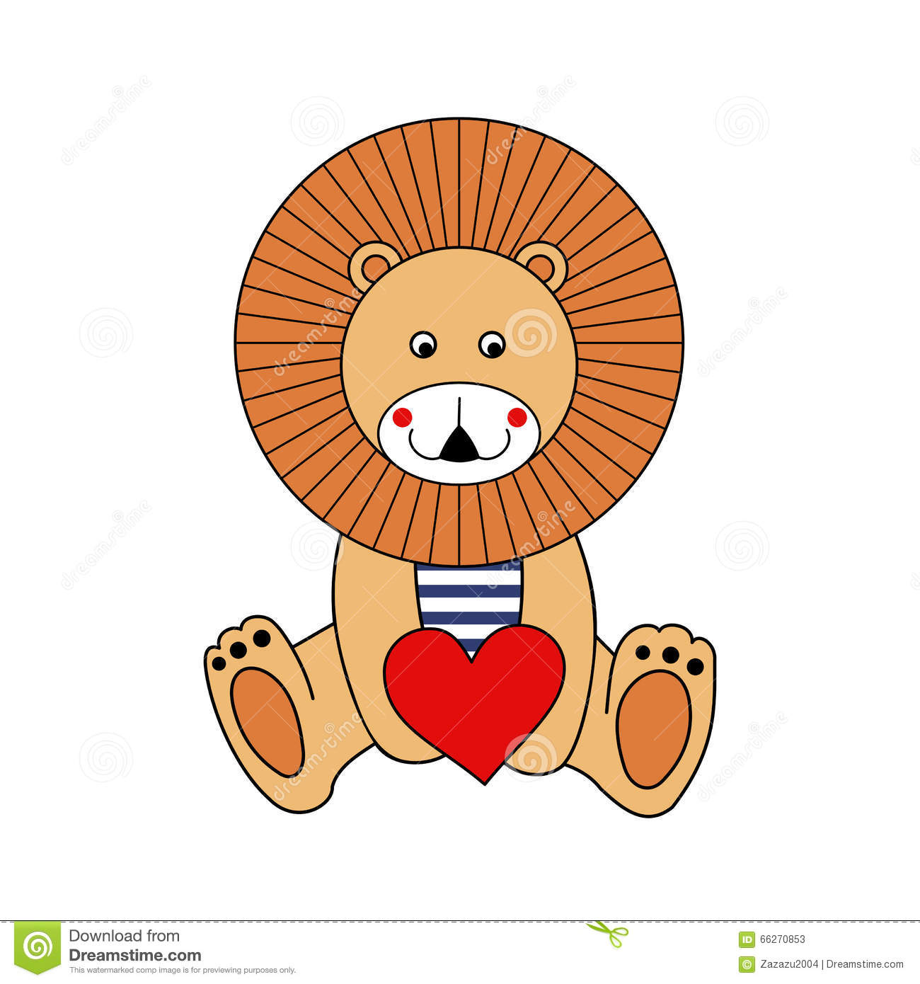 Cute Cartoon Lion With Red Heart Valentine S Day Card Stock Vector