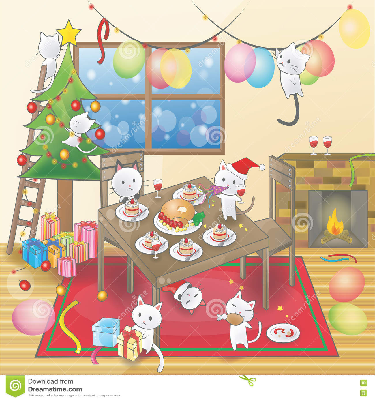 Cute Christmas Party.Cute Cartoon Of Little Cats Are Celebrating A Christmas